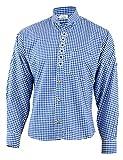 German Wear Trachtenhemd mit Edelweiß-Stickerei Stehkragen 100% Baumwolle, Größe:M, Farbe:Dunkelblau