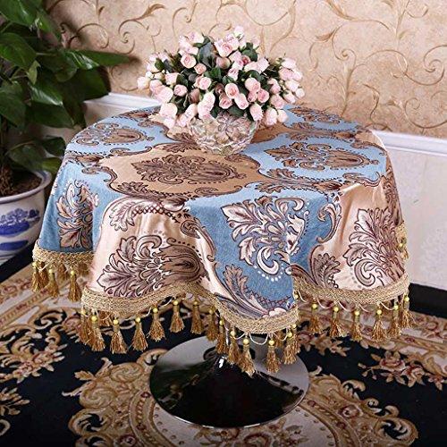QPG Style Européen de Haute Qualité Pastorale Ronde Nappe De Mode Impression Maison Pastorale Nappes Table Basse Tissu (Couleur : Bleu, taille : D200 cm)