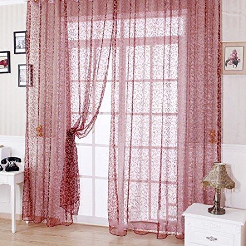 AGAING-home Againg Rod Pocket Panel Schiere Vorhänge Voile-Therapie Zuhause für Cafe/Schlafzimmer-/Kids/Fenster, 1Stück, weinrot, 39*106inch (Vorhang Weiß 84 Schiere)