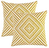 TreeWool, (Lot de 2) Kaléidoscope motif Décoratifs housses de Coussin en toile de coton (50 x 50 cm, Moutarde)