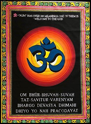BellaMira - Tapiz indio de meditación de algodón Om Gayatritra Mantr