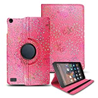 Kamal Star KINDLE FIRE HD 8 2017 Case, Leather Wallet flip cover,back stand cover, Full Body protection tablet cover by (Rose Pink Diamond)