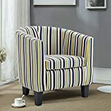 Leisure Zone Sofa Collection Striped Tub Chair/Armchair Seating, Linen Fabric for Living Room Dining Office Reception