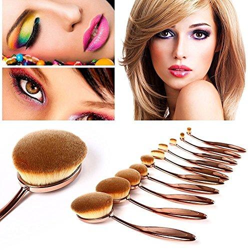 YUMUN®10 Stück Oval Make-up Pinsel Set Professionelle Foundation Concealer Blending Blush Liquid Powder Creme Kosmetik Pinsel, Zahnbürste Kurve Make-up für Gesicht und Augen (Gold) (Sonicare-pinsel-set)