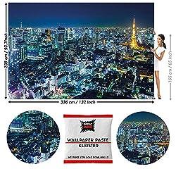 GREAT ART Fototapete Tokyo Skyline bei Nacht 336 x 238 cm - Panorama City Weltstadt Wolkenkratzer Reise Japan Wandtapete Dekoration Wandbild - 8 Teile Tapete inklusive Kleister