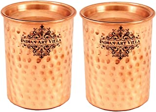 Indian Art Villa Hammered Copper Glass Tumbler With Lid, Drinkware, Health Benefits, 250 Ml, Set Of 2