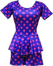 I-Swim Ladies Swimming Costume Dark Blue with Pink Dots