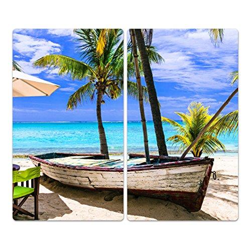DekoGlas Herdabdeckplatten Set inkl. Noppen aus Glas 'Tropischer Urlaub', Herd Ceranfeld Abdeckung, 2-teilig universal 2X 52x30 cm