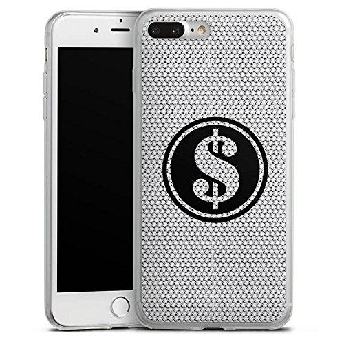 Apple iPhone 8 Plus Slim Case Silikon Hülle Schutzhülle Dollar Glitzer Diamanten Silikon Slim Case transparent