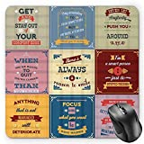 BGLKCS Quote Mauspads, Collection of Motivational Quotes Success Positive Attitude Themed Artwork Print, Standard Size Rectangle Non-Slip Rubber Mousepad, Pink Yellow