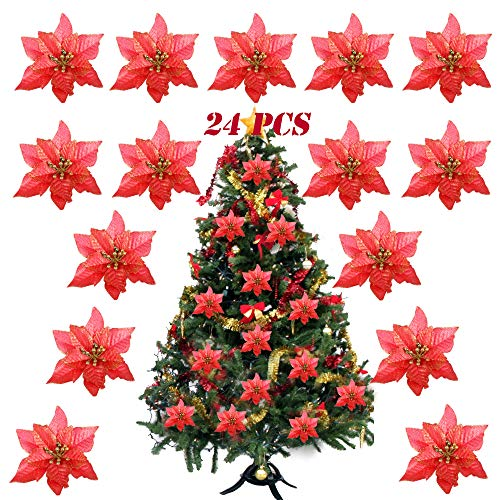 Serwoo (dia. 15cm) 24pz fiore artificiale rosso natale per albero finti natalizi decorazione addobbi ornamenti natalizie