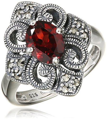 esse Damen Ring 925 Silber vintage-oxidized Granat rot Markasit 60 (19.1) - L0021R/90/M2/60