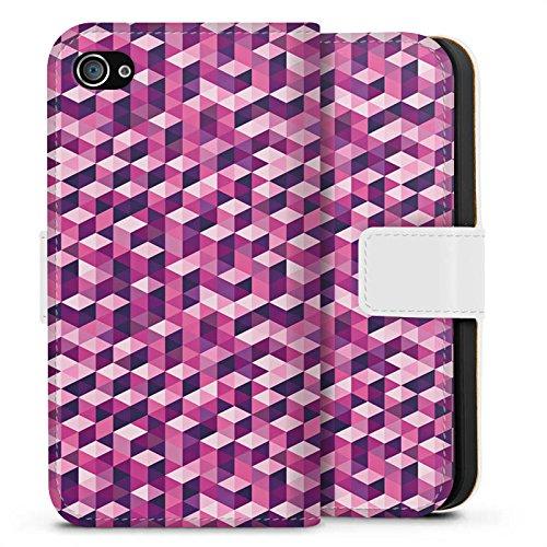 Apple iPhone X Silikon Hülle Case Schutzhülle Würfel Muster Illusion Sideflip Tasche weiß