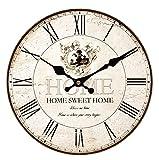 Hylaea - Reloj de pared en madera, silencioso, con mecanismo de cuarzo y de inspiración vintage, madera, Couleur10, diámetro 40 cm