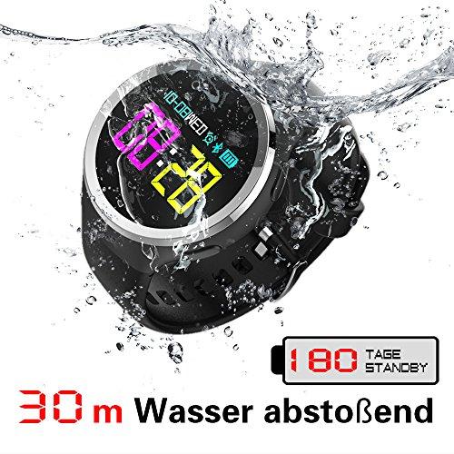 TECKEPIC Fitness sport smartwatch, IPX8 30m wasserbeständige armbanduhren für herren, mit Herzfrequenz Monitor, Schrittzähler, 30 Tage Laufzeit