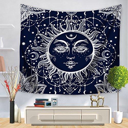 GWELL Psyschedelic Wandteppich Wandbehang Sonnen Mond Stern Motiv Tischdecke Strandtuch Bohemian Tapestry Muster wählbar Muster-C 150*200cm