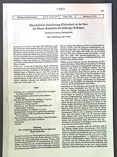 Rhyncholithen-Anreicherung (Oxfordium) an der Basis des Alteren Radiolarits der Salzburger Kalkalpen. Geologica et Palaeontologica, 5, S. 131-147, 2 Abb., 1 Taf.