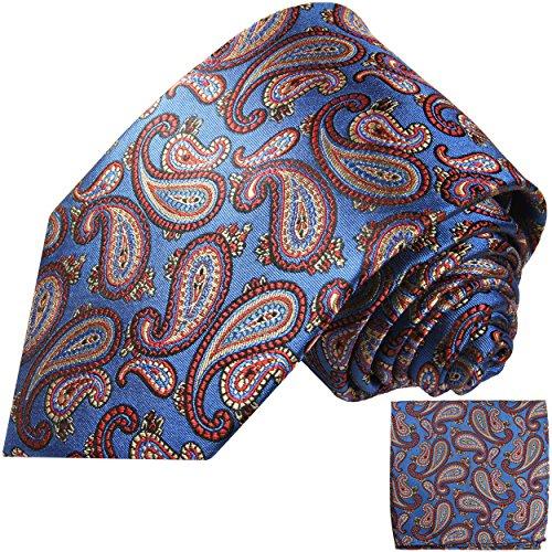 Cravate homme bleu rouge paisley ensemble de cravate 2 Pièces ( longueur 165cm )
