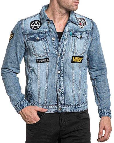 Gov Denim - Fashion blaue Jeansjacke mit gesticktem Flecken Blau