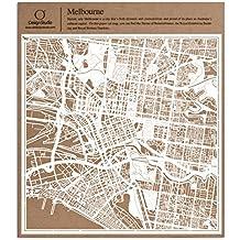 Melbourne Carta taglio mappa bianco 30x30 centimetri carta arte