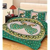 "AEROHAVEN™ Cotton Comfort 144 TC Cotton Jaipuri Print Double Bedsheet(84"" X 90"") With 2 Pillow Cover(16"" X 26"")"