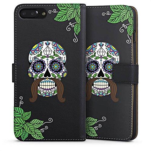 Apple iPhone 6 Tasche Hülle Flip Case Männer Totenkopf Tattoos Schädel Sideflip Tasche schwarz
