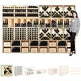 Botellero de vino modular X-60, pino natural, max. 44 botellas, apilable / ampliable - alt. 60 x anch. 60 x pr. 30 cm