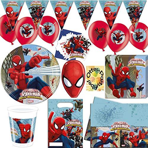 HHO Spiderman Partyset 97tlg.für 12 Gäste Teller Becher Servietten 2 Tischdecken Einladungen Partytüten Masken Luftballons Wimpel