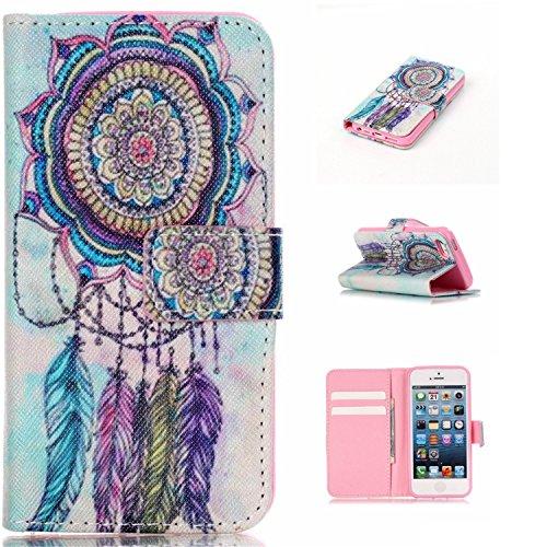 Qiaogle Telefon Case - PU Leder Wallet Schutzhülle Case für Apple iPhone 5 / 5G / 5S / 5SE (4.0 Zoll) - YH19 / Traumfänger + Bunte Halo (Halo 4 Wallet)