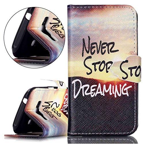 Custodia Apple iphone 5C Book Style design portafoglio Wallet CASO,Pelle PU Flip protettivo Pocket Case Cover per iphone 5C(retr¨° fiore) NEVER STOP DREAMING