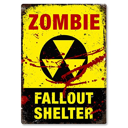 IES Metal Wall Sign Plaque Art Inspirational Slogan Dead Drunk Vintage Apocalypse by Cirrus (Fallout Shelter Sign)