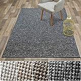 casa pura Teppich Sansibar   Pflegeleichtes Bouclé   Viele Größen   für Flur, Wohnzimmer, Esszimmer, Küche, Schlafzimmer, Büro   gekettelt (Grau - 160x160 cm)