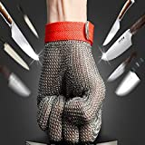 Blusea Protective Glove, 304L Stainless Steel Mesh Knife Cut Resistant Chain Mail Protective Glove for Kitchen Butcher Working Safety
