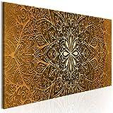 decomonkey | Bilder Mandala 100x45 cm 1 Teilig Leinwandbilder Bild auf Leinwand Vlies Wandbild Kunstdruck Wanddeko Wand Wohnzimmer Wanddekoration Deko Orient Abstrakt Zen Gold