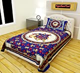 #2: RajasthaniKart Classic 144 TC Cotton Single Bedsheet with Pillow Cover - Abstract, Blue