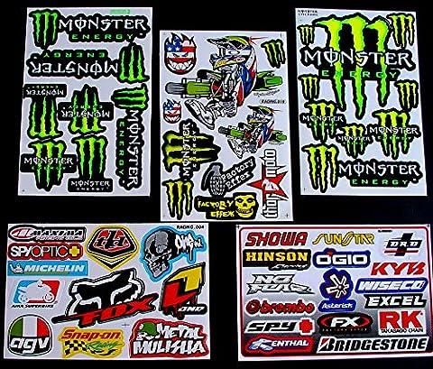 5 Sheets Motocross stickers GA Rockstar bmx bike Scooter Moped