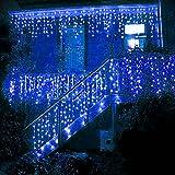 BUOCEANS® LED 5M Eisregen/Eiszapfen Lichterkette Weihnachtsdeko Weihnachtsbeleuchtung Deko Fairy Christmas INNEN und AUSSEN (Blau - 5M) [NEWEST]