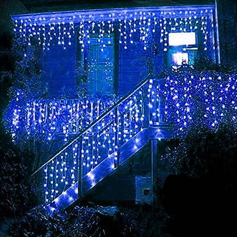 BUOCEANS? LED 5M Eisregen/Eiszapfen Lichterkette Weihnachtsdeko Weihnachtsbeleuchtung Deko Fairy Christmas INNEN und AUSSEN (Blau - 5M) [NEWEST]