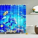 GuDoQi Duschvorhänge Delfin Und Fisch Drucken Polyester Wasserdicht Mehltauresistent Mit 12 Haken Für Die Badezimmerdekoration