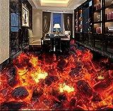Chlwx 200cmX150cm (78.7inX55.367in) 3D-Pvc Bodenbeläge 3D Badezimmer Bodenbeläge Tapeten Flamme Wasserdicht 3D Stock Wandbilder Fototapete Für Wände 3D