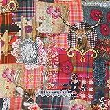 Textile London Baumwollstoff Hirsch und Spitze, digital Bedruckt, Meterware
