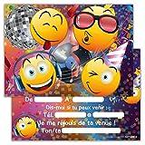 Lot de 12 Cartes d'invitation pour Anniversaire, Partie, fête Cartons d'invitation en Français Smiley Emoji...