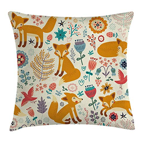 ERCGY Fox Throw Pillow Cushion Cover, Natural Wildlife Composition Cute Foxes Ornate Flowers Flying Birds Kids Nursery, Decorative Square Accent Pillow Case, 18 X 18 Inches, ()