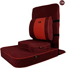 Friends of Meditation ® Extra Large Relaxing Buddha Meditation and Yoga Chair with backsupport and meditation block (maroon)