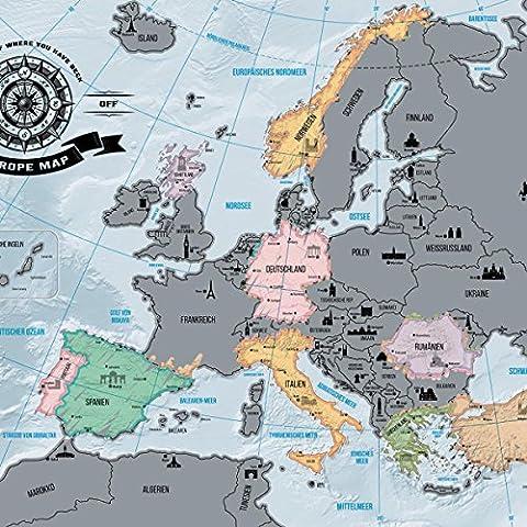Europakarte zum Rubbeln - Scrape Off Europe Map - Landkarte Deluxe Europa-Welt-Karte Poster XXL