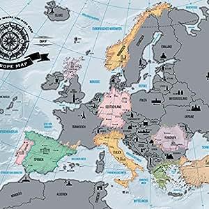 europakarte zum rubbeln scrape off europe map landkarte deluxe europa welt karte. Black Bedroom Furniture Sets. Home Design Ideas
