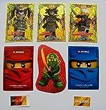 Lego Ninjago Serie 3 - 3 limitierte Gold Karten Trading Cards LE 16 Gemeiner Garmadon, LE 20 Oni Masken Ultra Violet, LE 24 Gemeiner Schlangenjaguar, + 1 Ninjago Schútzhülle