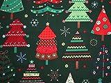 Metallic Weihnachten große Bäume Print Baumwolle Stoff