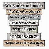Bada Bing Planken Schild Familie Familienregeln 32 x30 Wandschild Bild Spruch Deko 122
