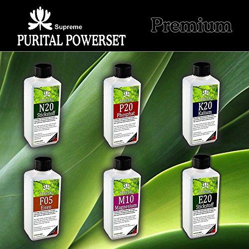 PURITAL SET Premium, Flüssig-Dünger Set zum mischen eigener NPK Werte N+P+K+ Mg Magnesium + Fe Eisen, Spurenelmente